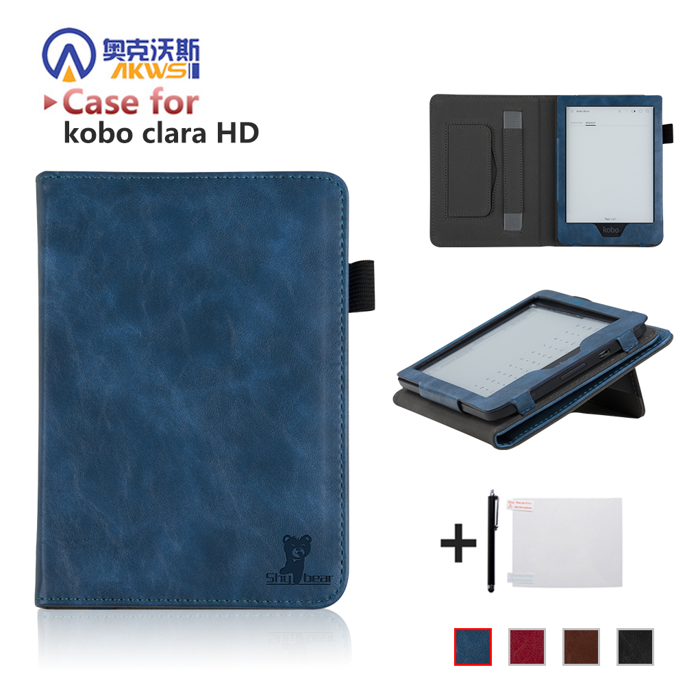 Luxury Cover Case For New Kobo Clara HD 6'' Ereader Folio Case With Hand Holder For  Kobo Clara HD 6 Inch+free Gift