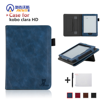 цена Luxury Cover Case for New Kobo Clara HD 6'' Ereader Folio Case with Hand Holder for  Kobo Clara HD 6 inch+free Gift онлайн в 2017 году