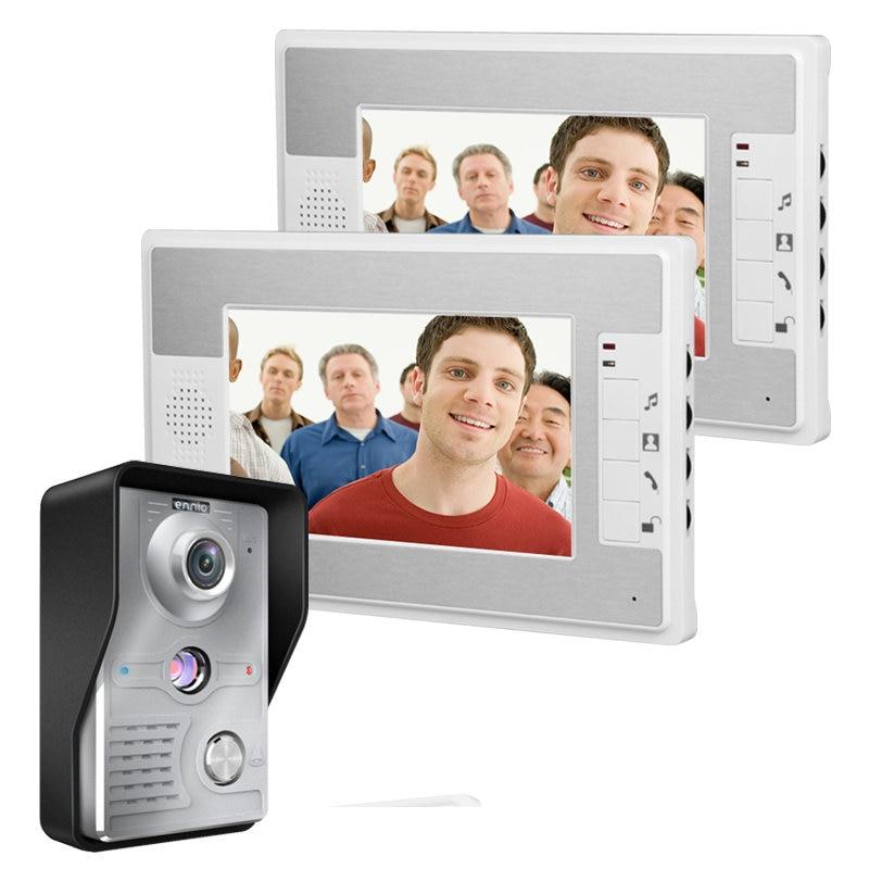 Free Shipping!2016 New Products 7 Inch Video Door Phone Doorbell Intercom Kit 1-camera 2-monitor Night Vision