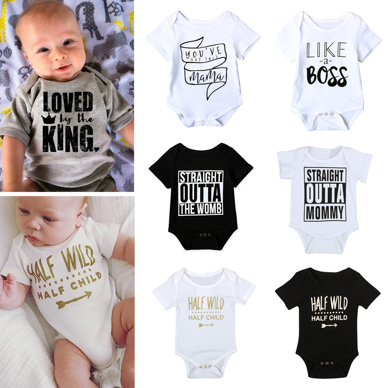 Newborn Infant Baby Tiny Cottons Funny Letter Short Sleeve Bodysuit Baby Boy Girl Clothes outfits jumpsuit half wild Baby onesie minnie newborn baby girl clothes gold ruffle infant bodysuit bloomer headband set winter jumpsuit toddler birthday outfits