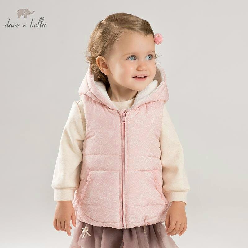 DBJ8597 dave bella autumn baby girls sleeveless lovely coat children high quality coat kids pink vest 1 pc