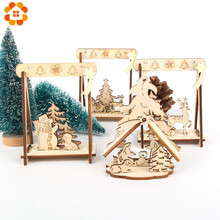 2PCS/Lot DIY Creative Small Hollow Christmas Wooden Ornaments For Home Party Ornament Decorations Kids Gift Supplies