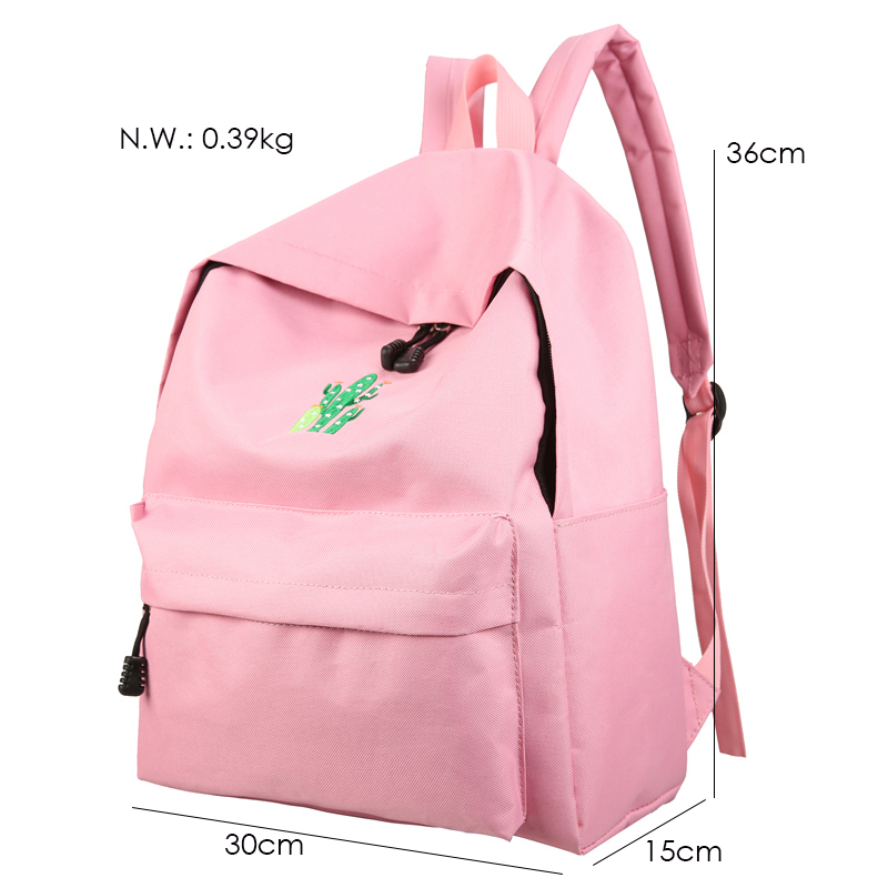 New Cactus Embroidery Simple Canvas Backpack Students School Women Girl Rucksack Mochila Escolar Women Backpack (48)