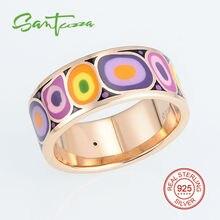 Серебряные кольца для Для женщин Разноцветной Эмалью Кольцо Pure стерлингового серебра 925 женский кольцо партия Модные украшения ручной работы