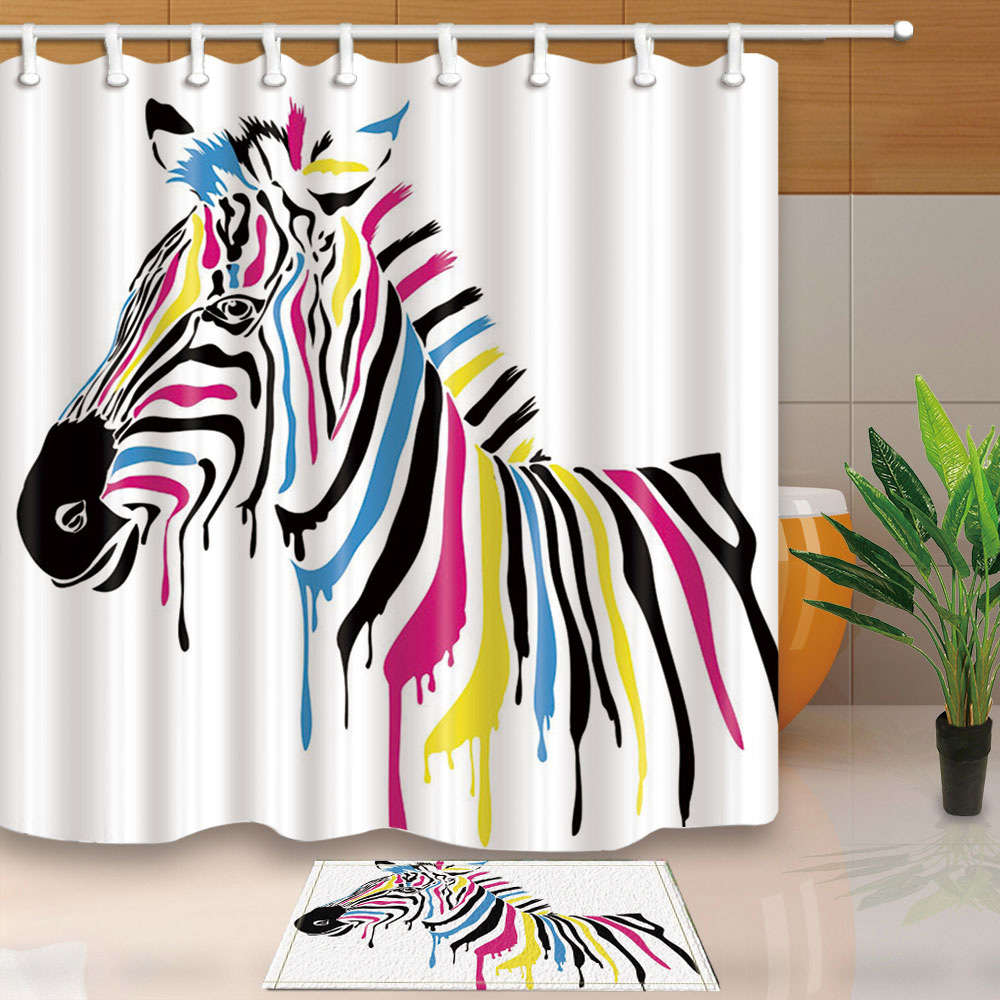 Red And Zebra Bathroom Decor: Colorful Zebra Unicorn Fashion Waterproof Fabric Home