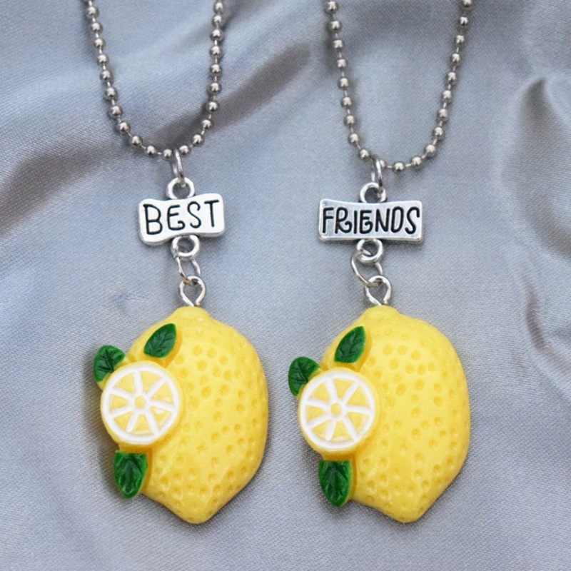 Simulation Yellow Lemon Fruit Pendant Necklace Children Best Friend BFF 2 Girls Resin Friendship Jewelry Souvenir Gifts For Kids