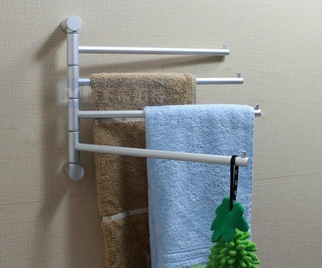 Space Aluminum Towel Bar Rotating Bathroom Retractable Towel Rack