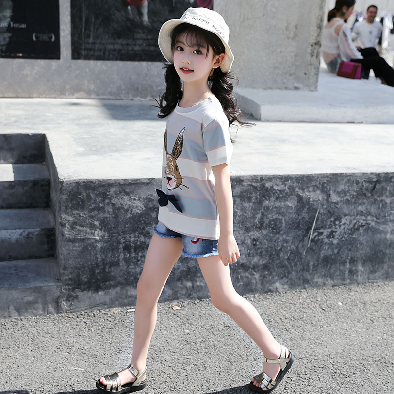 Summer Girl Striped Pure Cotton Tshirt Kids Short Sleeved Girls T Shirt Cartoon Rabbit Tee Shirt Enfant 4 6 8 10 12