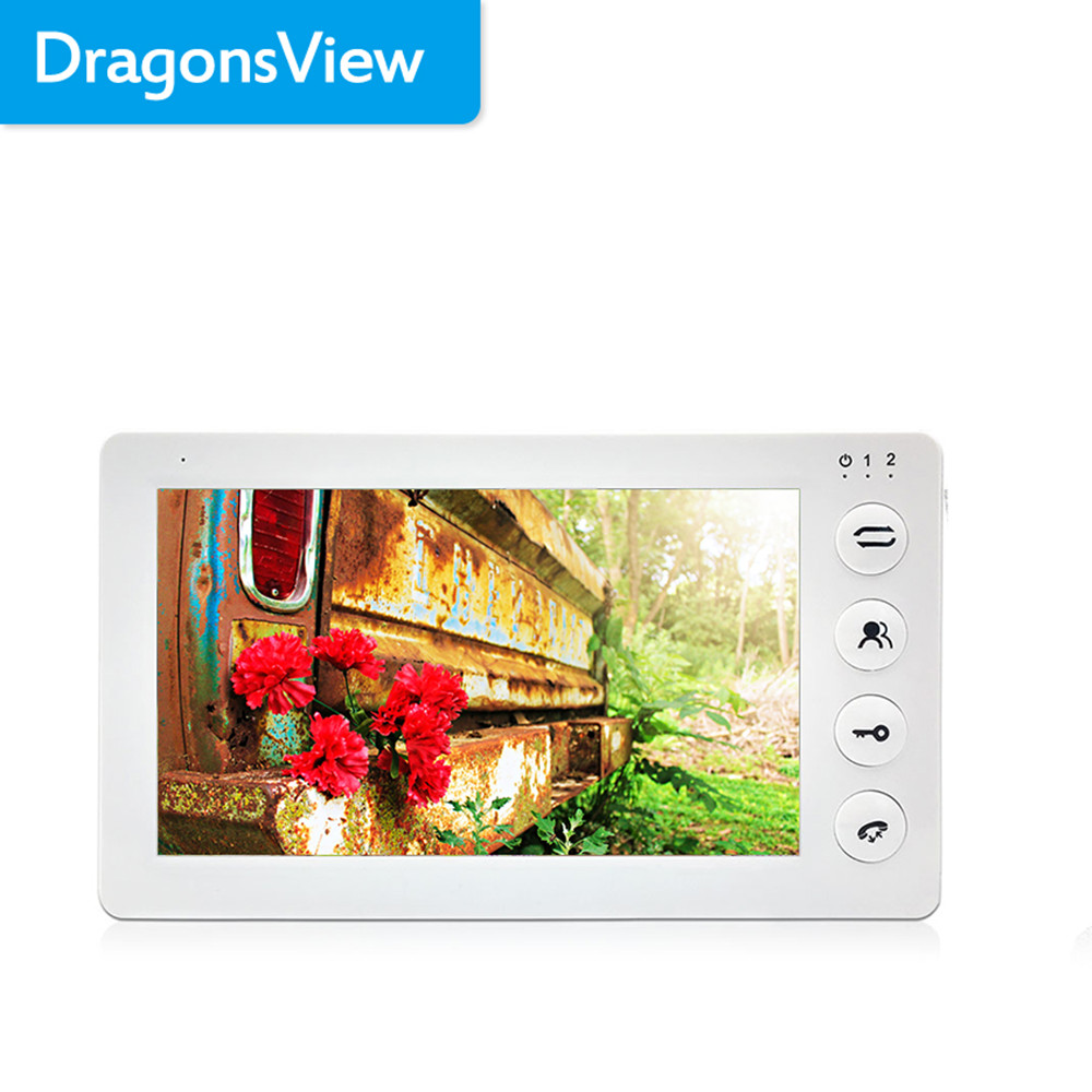 Dragonsview7 Inch Indoor Monitor Video Door Phone Intercom System With Recording Motion Detection White Ringtones MP3 MP4