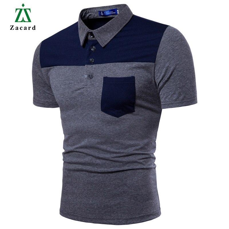 b6f0850d5d7b Zacard 2018 New Arrival Man s Polo Shirt Turn-Down Collar Splice Men Polo  Shirt Men Fashion Short Sleeve Polo Shirt Summer Tops