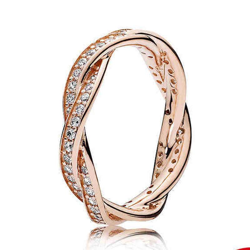 13 รูปแบบของแข็ง 925 เงิน Rose Gold Elegance Timeless รักนิรันดร์ Braided แหวนสำหรับงานแต่งงานของขวัญ Fine เครื่องประดับยุโรป