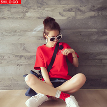 Free shipping fashion summer new women high quality printing knitted hat cartoon cat brooch wild solid color T-shirt red & green