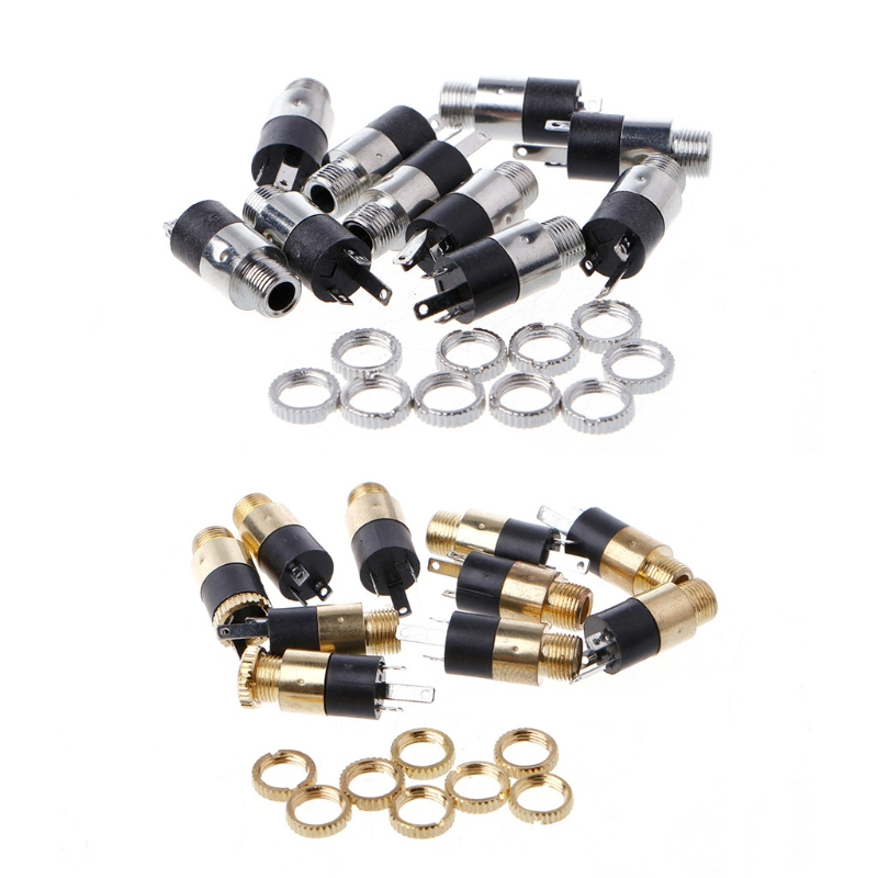 10 Pcs 3 Pin 1 8 3 5mm Stereo Audio Headphone Socket with Nut Panel Mount