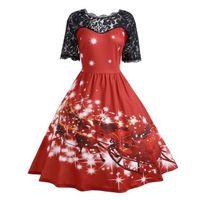 Женские Модные платье трапециевидной формы с принтом короткий рукав Кружево Винтажные наряды для Рождество праздник