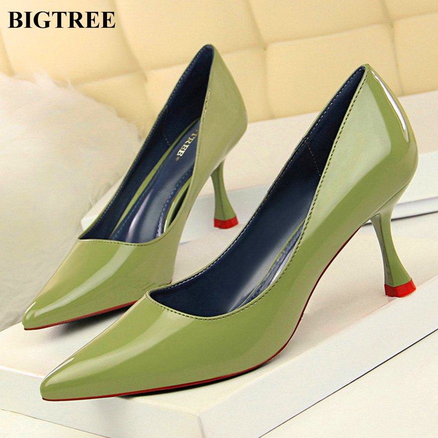 BIGTREE Shoes New Patent Leather Women Pumps Fashion Office Shoes Pointed Lady Sexy High Heels Shoes Women's Party Wedding Shoes