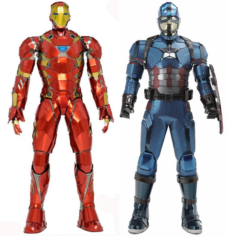 3D casse-tête en métal Pour Captain America/iron Man Modèle bricolage Figure Statue Collectional Éducatifs Parent-enfant Interactive jouets pour enfants