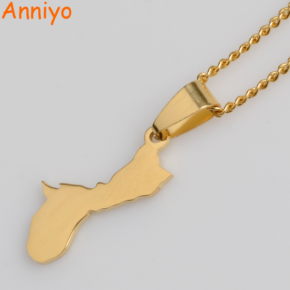 Anniyo Gold Color Guahan Map Small Pendant and Necklaces for Women United States Guam Jewelry Charm Gifts #012921