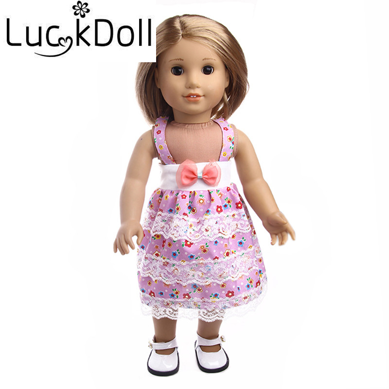 Luckdoll condole onepiece dress fit 14.5inch american girl doll Wellie Wishers and 43cm baby born zapf Doll, children best gift