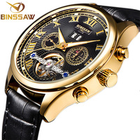 Binssaw גולד מקרה לצפות שעון מכאני רצועת עור פרה טבעי לוח שעוני יד relojes hombre 50 m צלילה תאריך אוטומטי