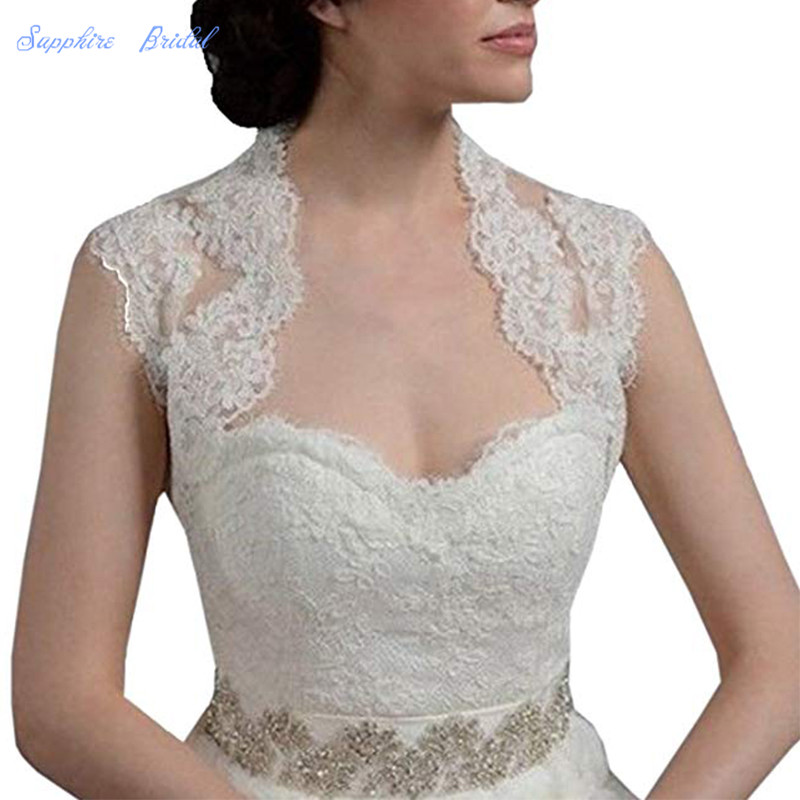 Sapphire Bridal Women's Lace Short Sleeve Backless Bolero Jacket Wedding Bridal Wraps