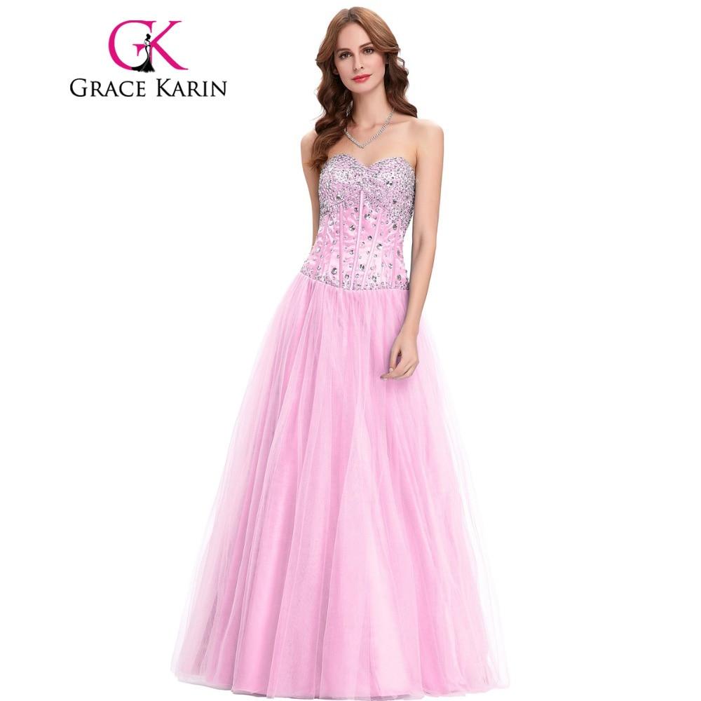 Grace Karin Long Evening Dresses Shinning White Blue Pink Corset ...