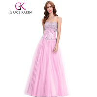 Grace Karin Long Evening Dresses Shinning White Blue Pink Corset Sweetheart Beads Sequined Formal Evening Dress Party Gowns 2018