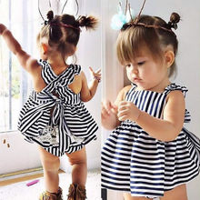 2018 summer Vestidos Baby Girl Dresses Princess Children Dress Stripe baby clothing Kids Girl Dress Brand Girls Clothes Costumes