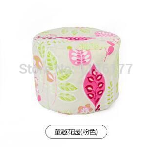 Ywxuege lazy fabric sofa stool pink sleeves style Home Office circular seating stool washable canvas newspaper