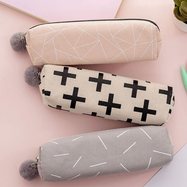Plush Ball Pencil Case for Girls Cute Canvas Cosmetic bag Pen Bag Stationery Pouch Box kids gift office Supplies zakka 2