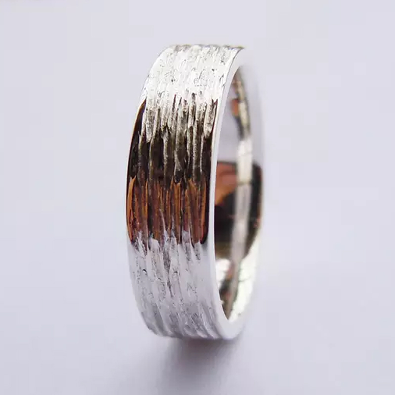 Tailor Made 5mm Solid .925 Tree Skin Sterling Silver Wedding Band Ring Size 4 - 16 (#SR17)Tailor Made 5mm Solid .925 Tree Skin Sterling Silver Wedding Band Ring Size 4 - 16 (#SR17)