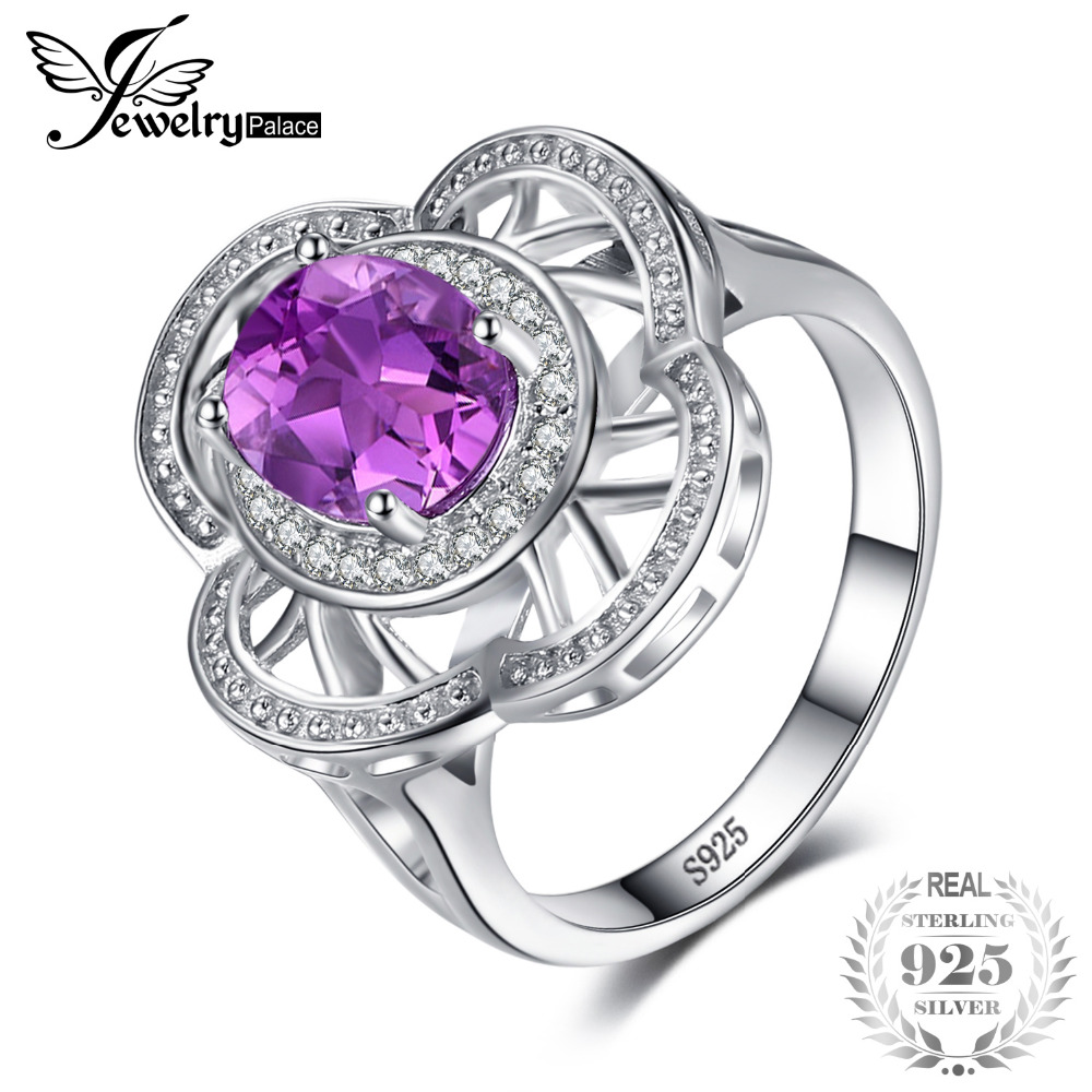 JewelryPalace Vintage Flower 2.8ct Created Alexandrite Sapphires Cocktail Ring 100% 925 Sterling Silver Wedding Fashion Jewelry jewelrypalace 100