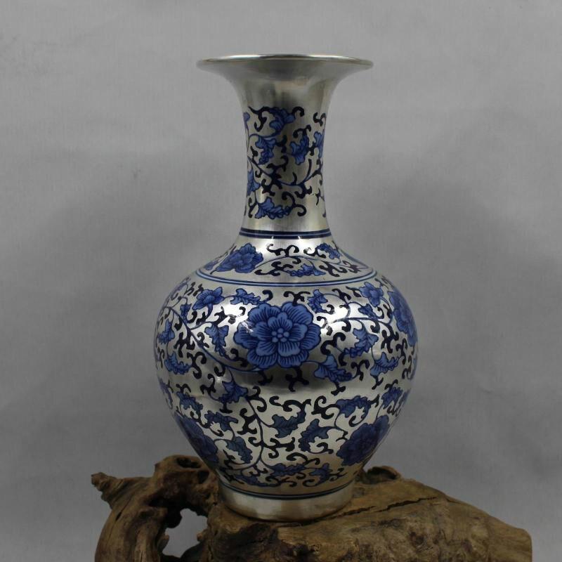 Creativo Nuovo Classico Post-moderna Argento Vaso Blu e Bianco Porcellana Fiore di Loto Vaso Per La Decorazione Domestica