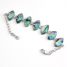 Kraft-beads Silver Plated Special Design Abalone Shell Marquise Shape Trail Stackable Bracelet Fashion Jewelry