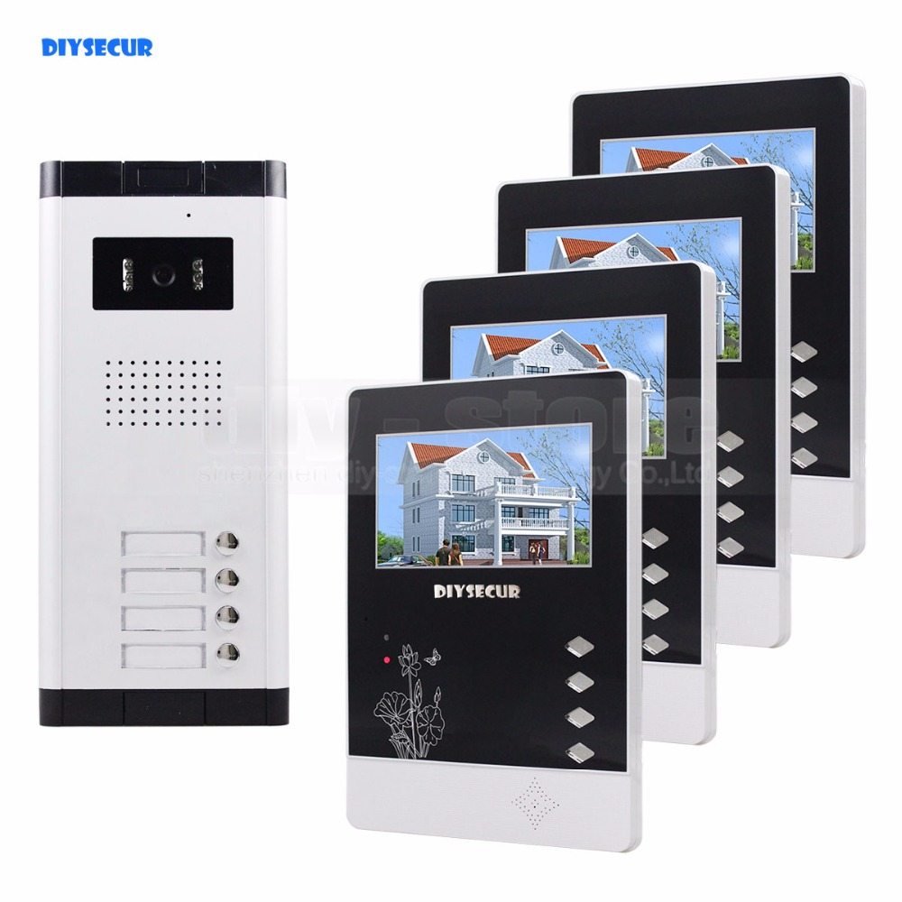 DIYSECUR Quality 4.3 4-Wired Apartment Video Door Phone Audio Visual Intercom Entry System IR Camera for 4 Families