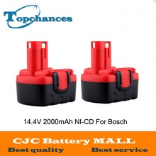 2 pcs BAT038 14.4V 2000mAh Rechargeable Battery Pack Power Tools Battery Cordless Drill Replacement for Bosch 3660CK Ni-CD