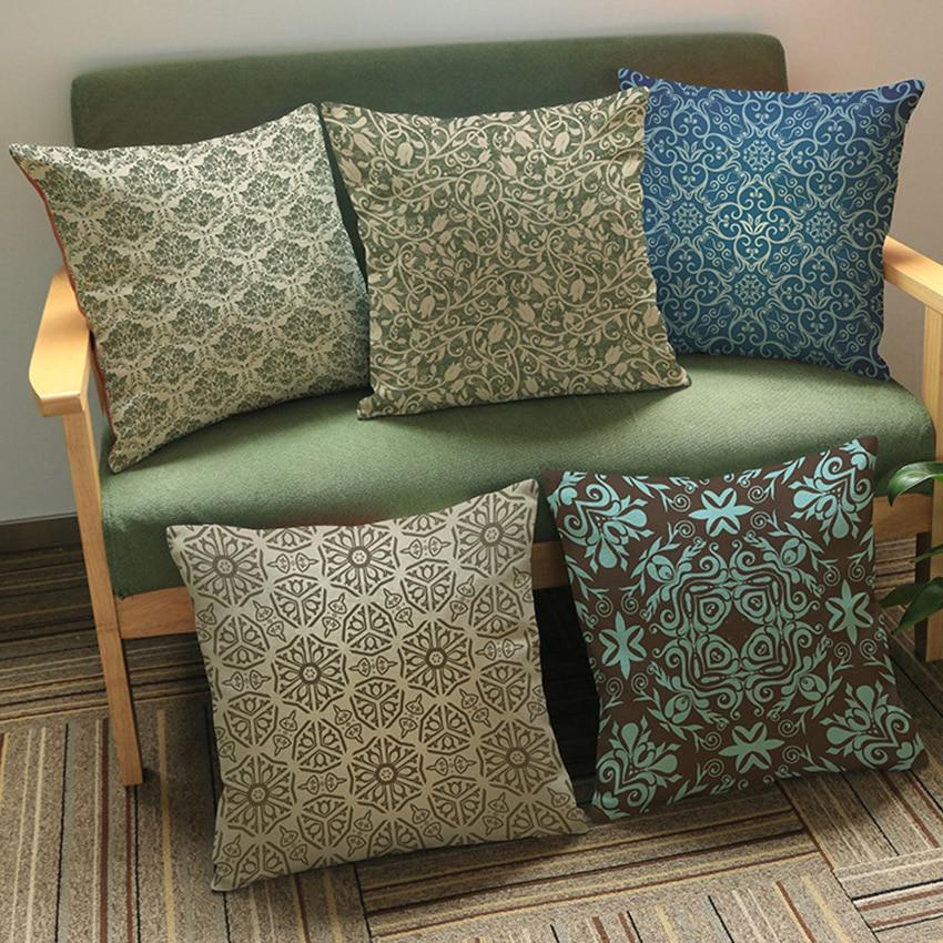 Elegant Sofa Pillows: Nordic Royal Elegant Floral Pattern Geometrics Home