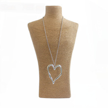 1pcs Fashion Jewelry Antique Silver Large Statement Abstract Metal Heart Necklace Jewelry Chain Lenght 95cm
