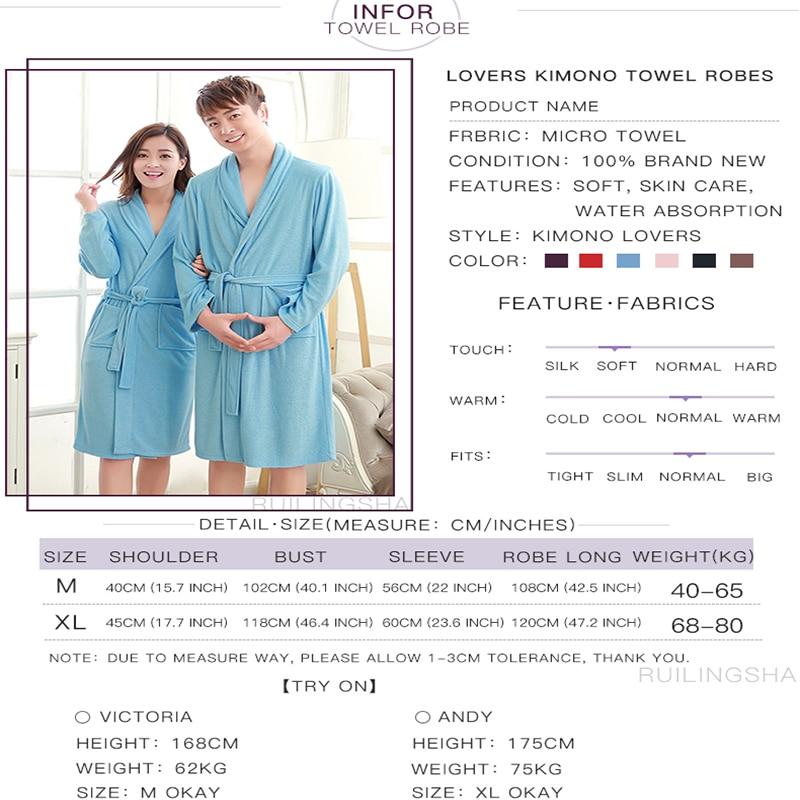 One Sale Women Men Terry Bath Robe Suck Water Long Kimono Bathrobe ...