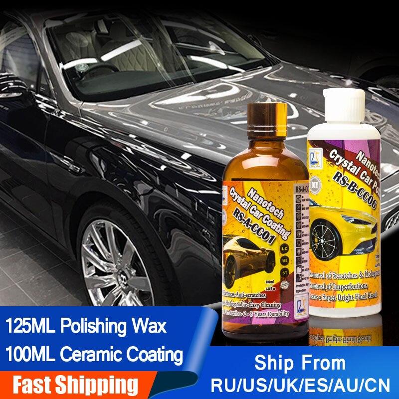 Восходящая звезда RS-CC0106 автомобильный лак микро царапины удалить + 9 H жидкое стекло кристалл покрытие автомобиля и полированная паста 225 мл ...