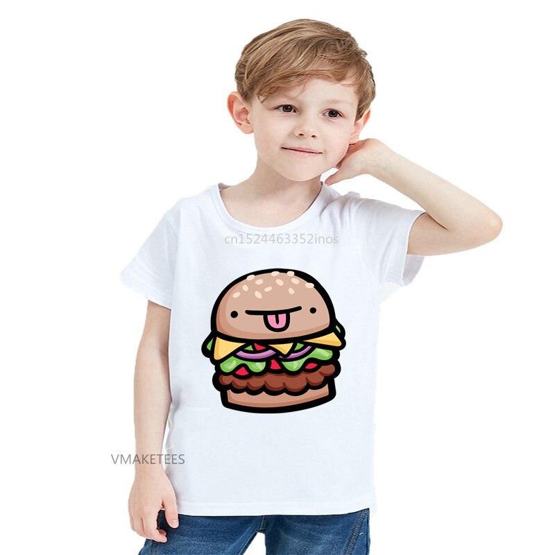 2018 Summer Girls & Boys Short Sleeve T Shirt Hamburger Face Cute Print T-shirt Baby Kids Cartoon Funny Clothes,HKP5684