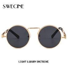 4881fc53b2 SWECINE Circular Metal gafas de sol marca diseñador de moda Steampunk,  hombres y mujeres de Sol de Metal Retro UV400 2018 nuevo