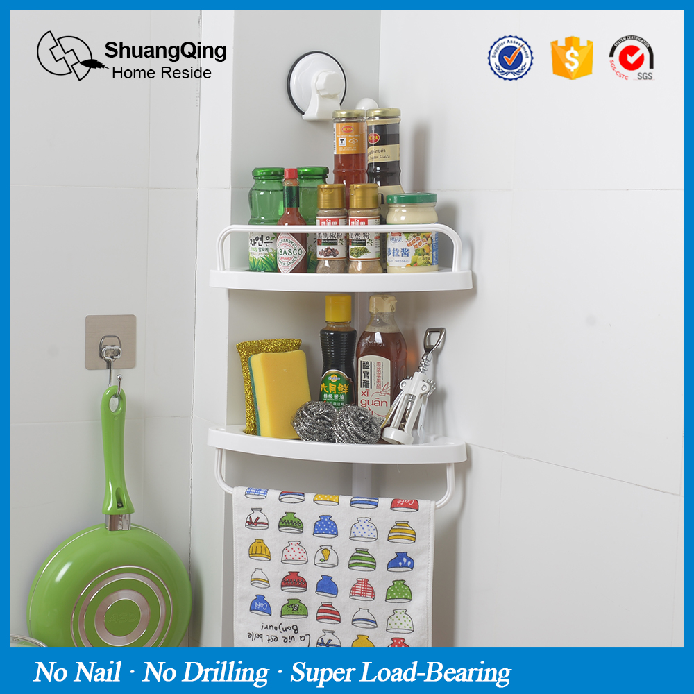 Plastic 2 Layer Spice Rack Wall Mount Type Kicthen Bathroom Corner ...