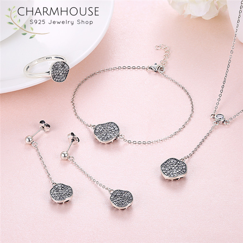 100% 925 Sterling Silver Jewelry Sets for Women Cubic Zirconia Pendant Necklace Bracelet Ring Earrings 4 Pcs Bridal Jewelry Set a suit of gorgeous rhinestoned flower necklace bracelet earrings and ring for women