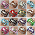 1d one direction Jewelry One Direction Fashion Multicolor Multi-layer Double Heart Love wrap charm PU Leather Bracelets For Man