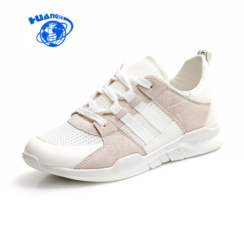 HUANQIU Women Pink Shoes White Flats 2017 Spring Summer Two Laces Fashion Trends Air Mesh Cloth Breathable Lady Shoes Size 35-40