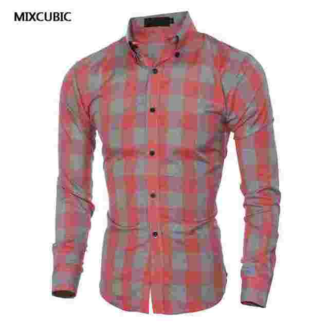 Men S Long Sleeve Shirts Small Big Check Red Orange Plaids Flannel For