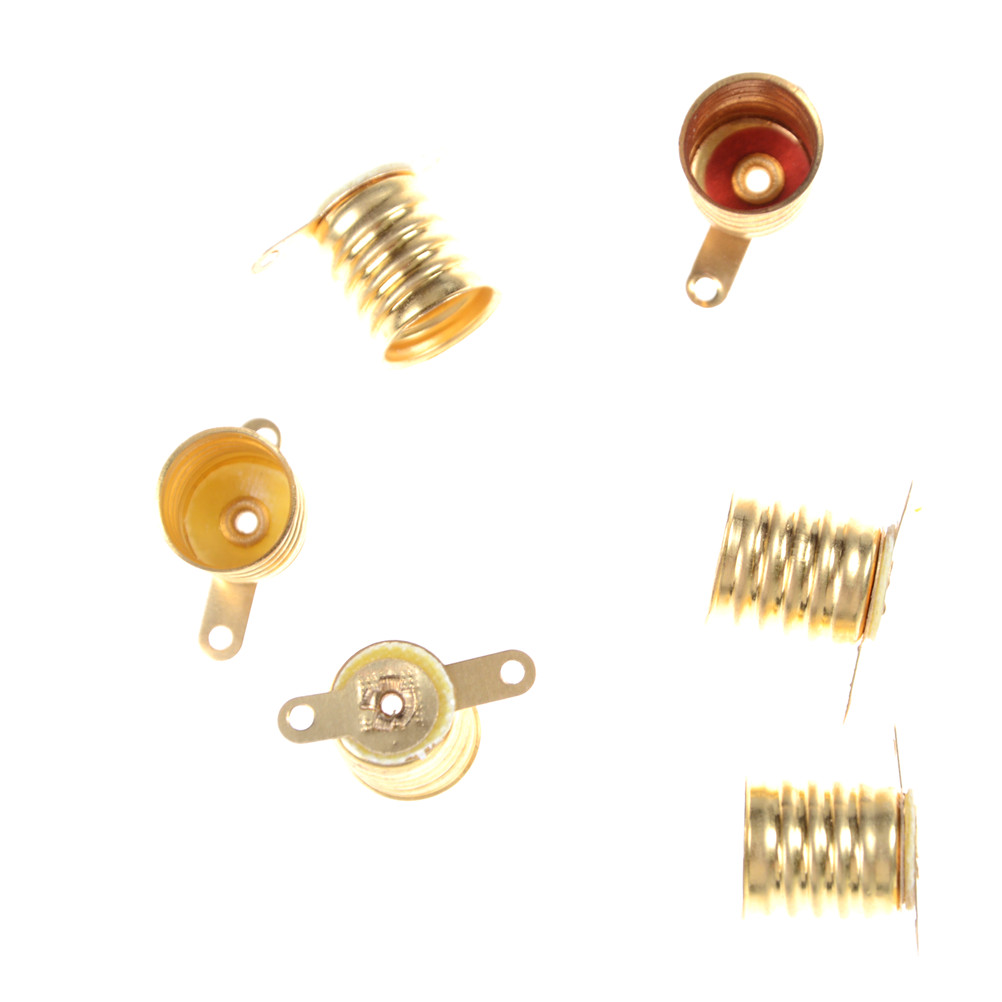 5PCS E10 Circuit Electrical Lamps Base Holder Bulbs Light Base Socket Test Home Experiment Gold Color