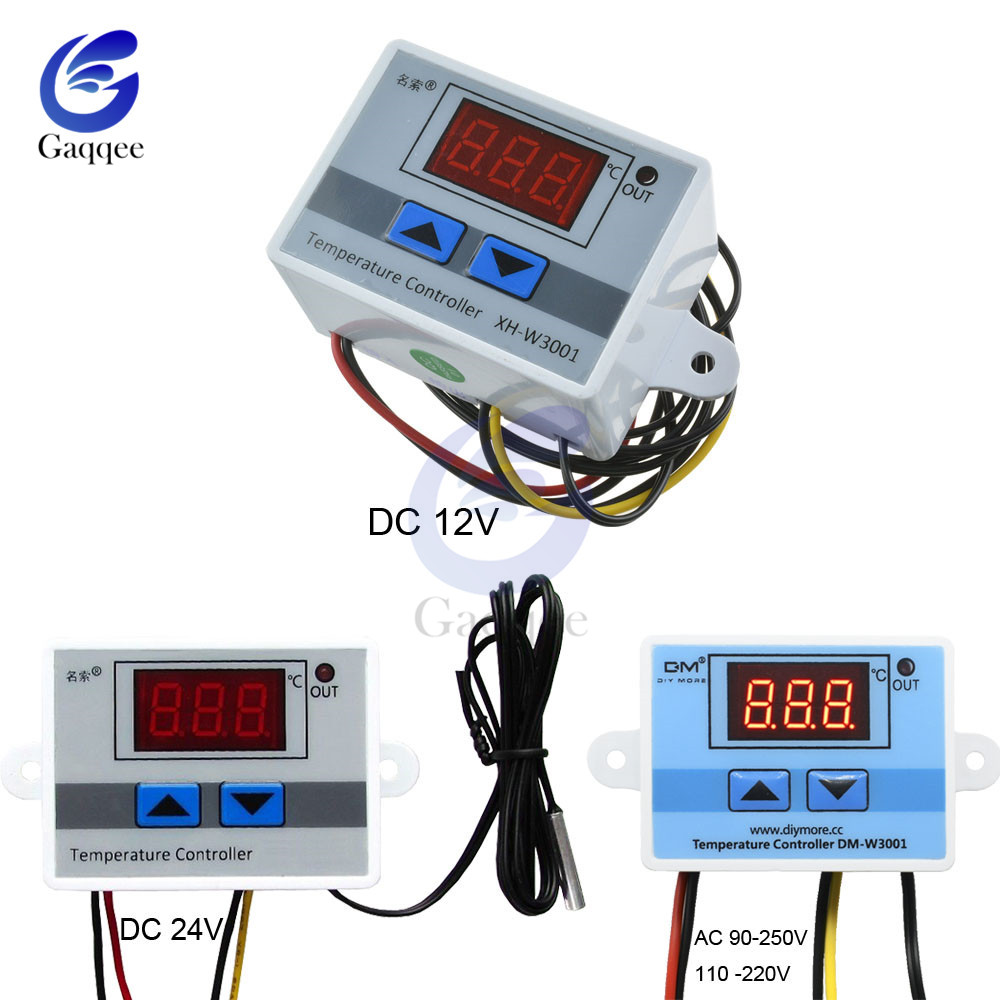 <font><b>XH</b></font>-<font><b>W3001</b></font> <font><b>W3001</b></font> Temperature Controller Digital LED AC 90-250V 110V 220V Thermometer Thermo Controller Switch Probe 10A DC 12V 24V image