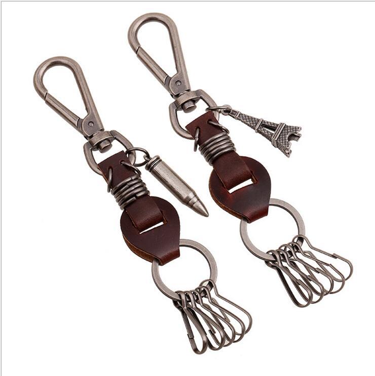 Date de Cru de mode véritable chaîne principale en cuir Jeans Accessoires Charme Hommes Porte-clés Mousqueton Porte-clés porte-monnaie porte-clés