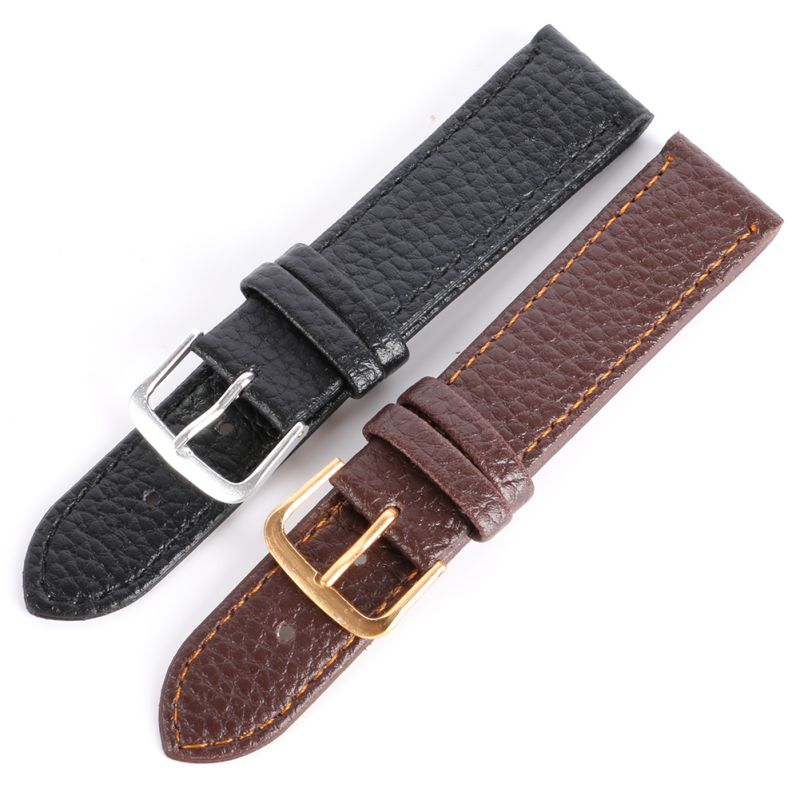 New Fashion Black Brown High Quality Watchband Soft Litchi Stripe PU Leather Watches Strap Pin Buckle 12-22mm